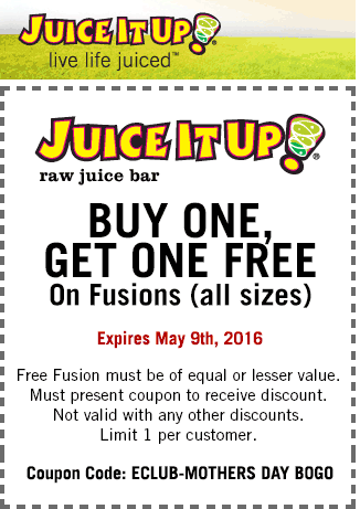 Juice It Up Coupon July 2017 Second fusion free at Juice It Up juice bar