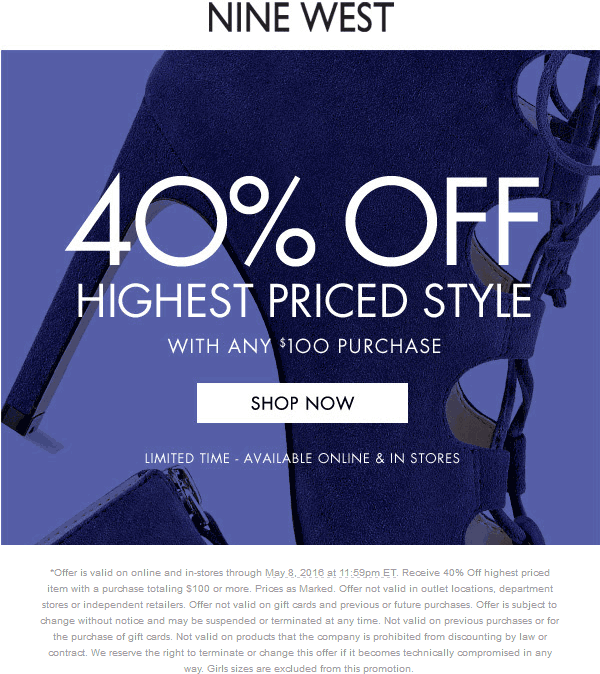 Nine West Coupon June 2017 40% off $100 at Nine West, ditto online with free shipping