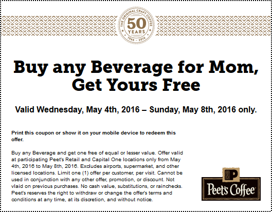 Peets Coffee & Tea Coupon June 2017 Second drink free at Peets Coffee & Tea