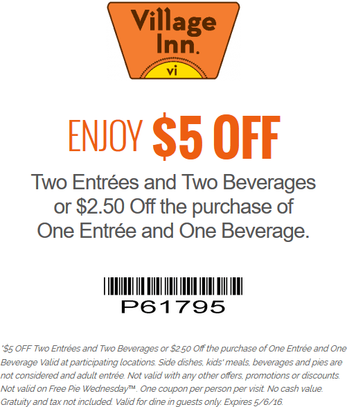 Village Inn Coupon March 2018 $5 off a couple entrees at Village Inn
