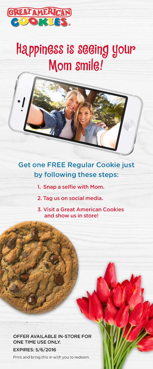 Great American Cookies Coupon February 2017 Free cookie via selfie today at Great American Cookies
