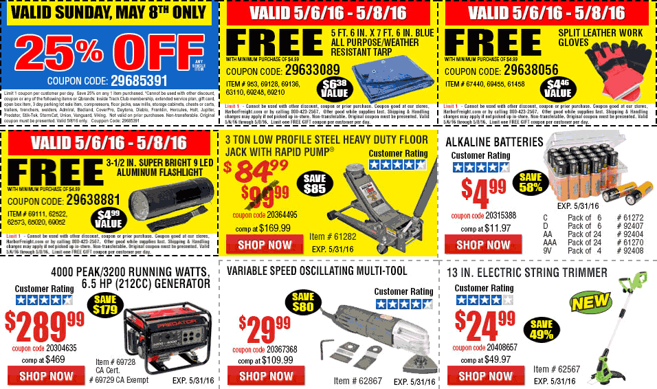 Harbor Freight Coupon January 2017 25% off a single item Sunday at Harbor Freight tools