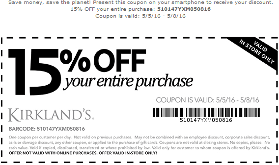 Kirklands Coupon October 2016 15% off at Kirklands