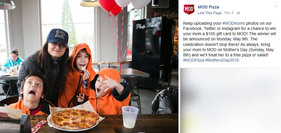 MOD Pizza Coupon December 2018 Free pizza or salad for Mom Sunday at MOD Pizza