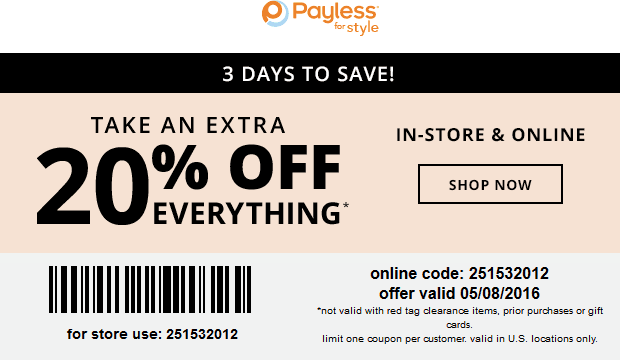 Payless Shoesource Coupon December 2017 Extra 20% off at Payless Shoesource, or online via promo code 251532012