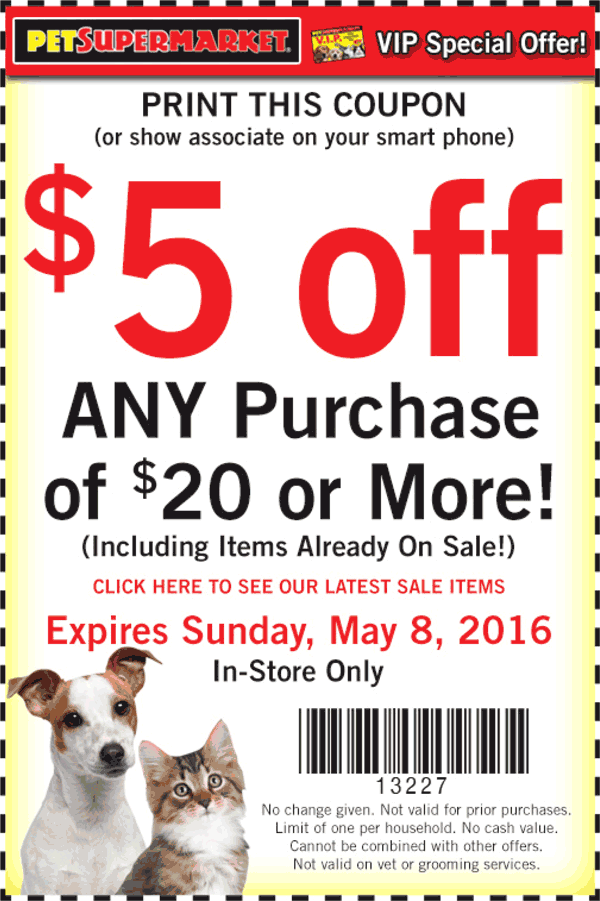 Pet Supermarket Coupon September 2017 $5 off $20 at Pet Supermarket