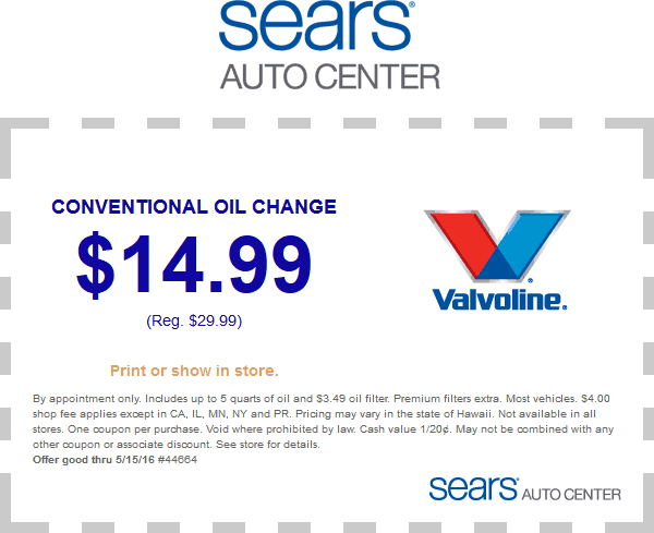 Sears Auto Coupon May 2017 $15 oil change at Sears Auto