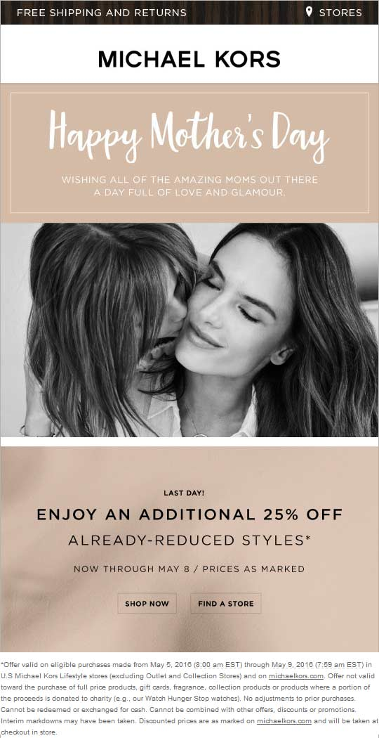 Michael Kors Coupon October 2017 Extra 25% off sale items today at Michael Kors, ditto online