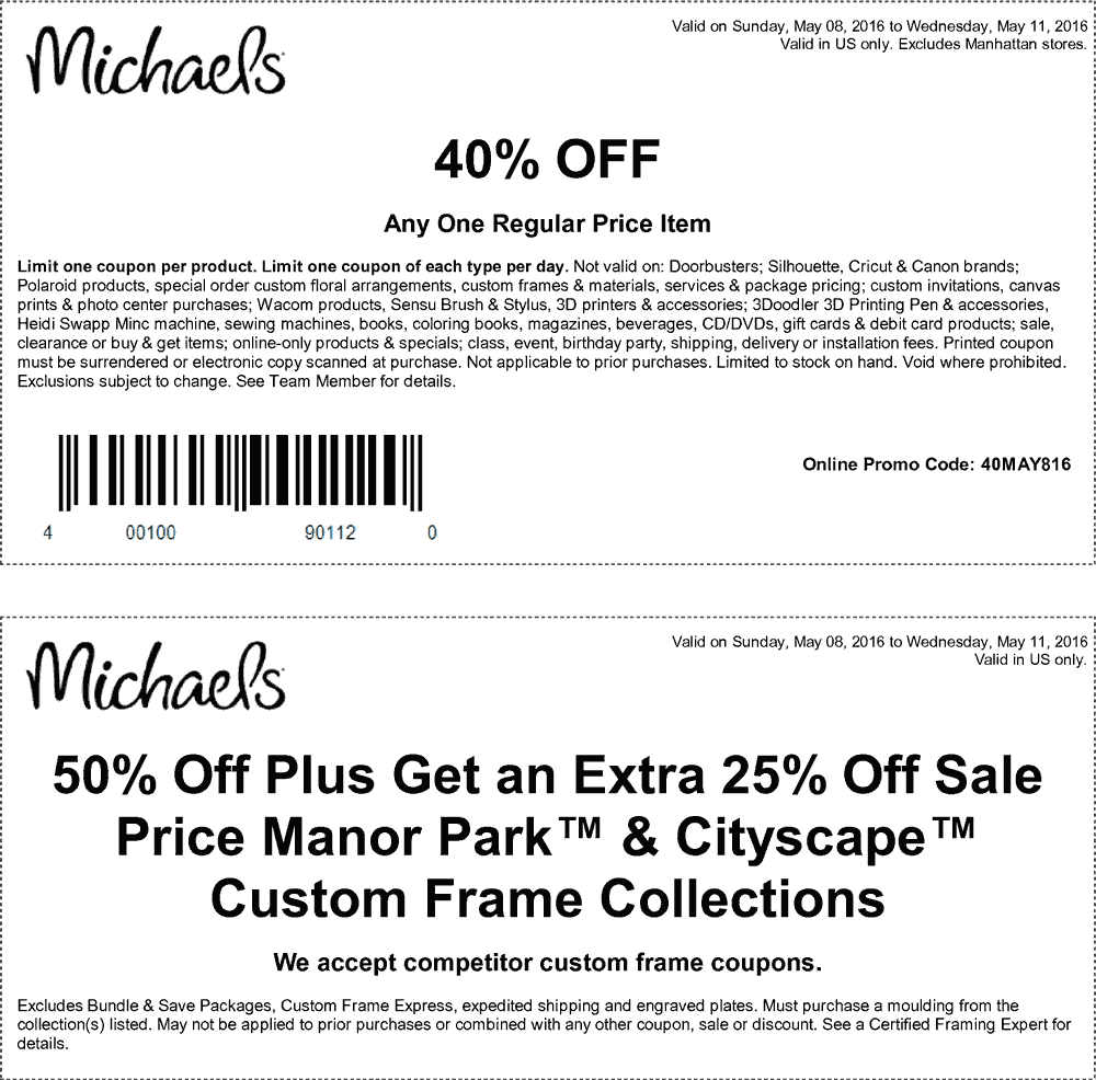 Michaels Coupon May 2017 40% off a single item at Michaels, or online via promo code 40MAY816