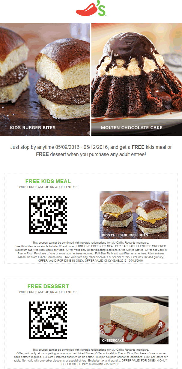 Chilis Coupon October 2016 Free appetizer or kids meal with yours at Chilis