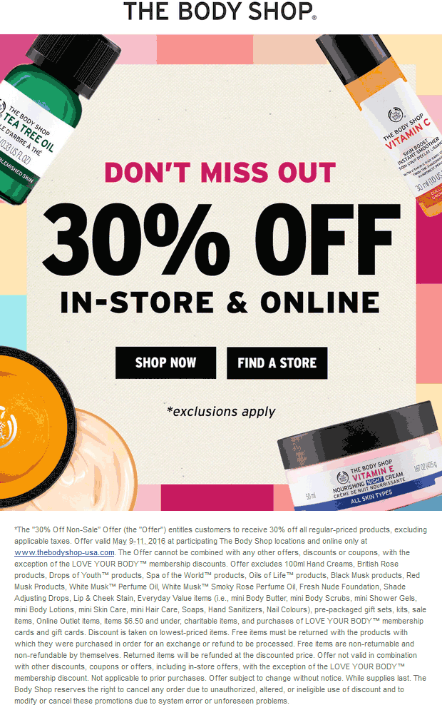 The Body Shop Coupon May 2017 30% off at The Body Shop, ditto online