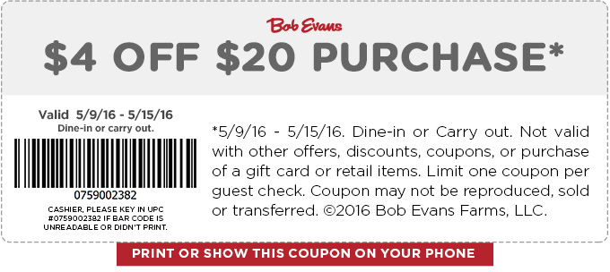 Bob Evans Coupon September 2017 $4 off $20 at Bob Evans restaurants