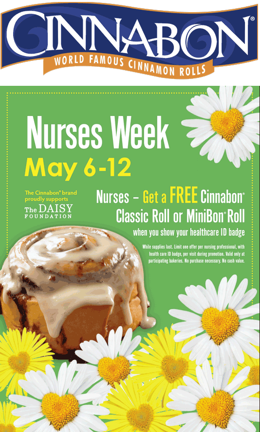 Cinnabon Coupon March 2018 Nurses enjoy a free cinnabon this week at Cinnabon
