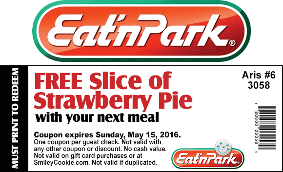 Eat n Park Coupon January 2017 Free slice of strawberry pie with your meal at Eat n Park restaurants