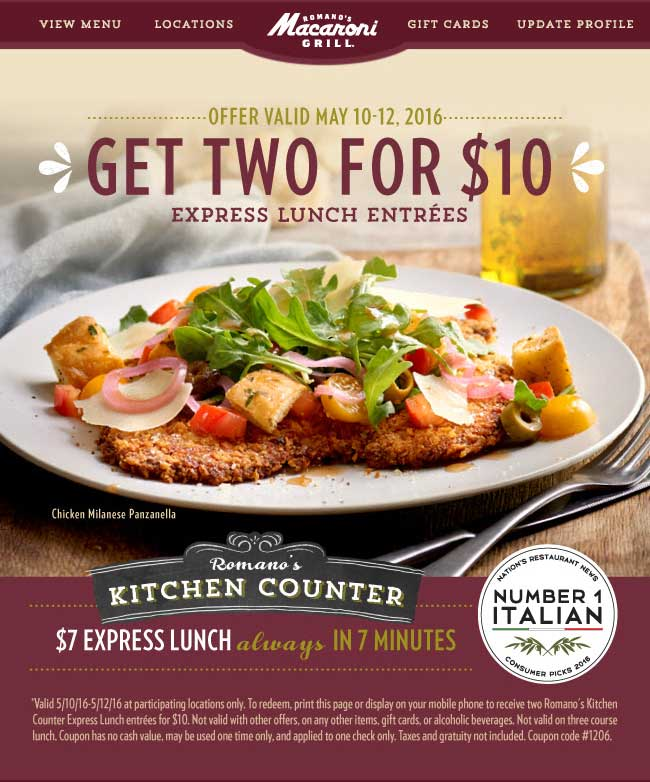 Macaroni Grill Coupon July 2017 Two lunches for $10 bucks in 7 minutes or free at Macaroni Grill