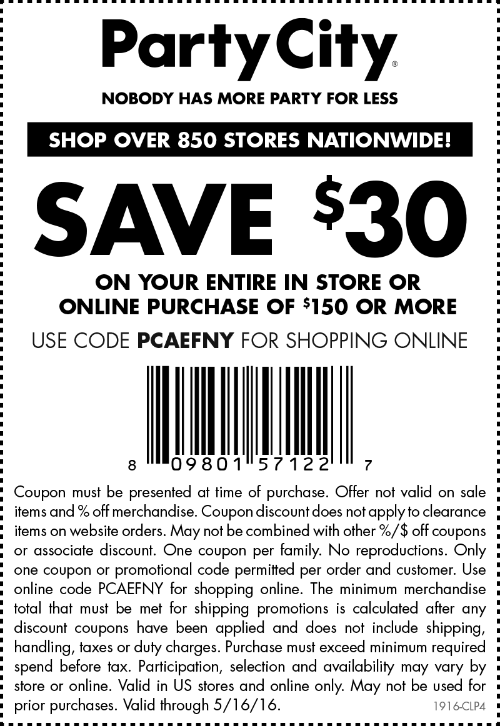 Party City Coupon March 2018 $30 off $150 at Party City, or online via promo code PCAEFNY