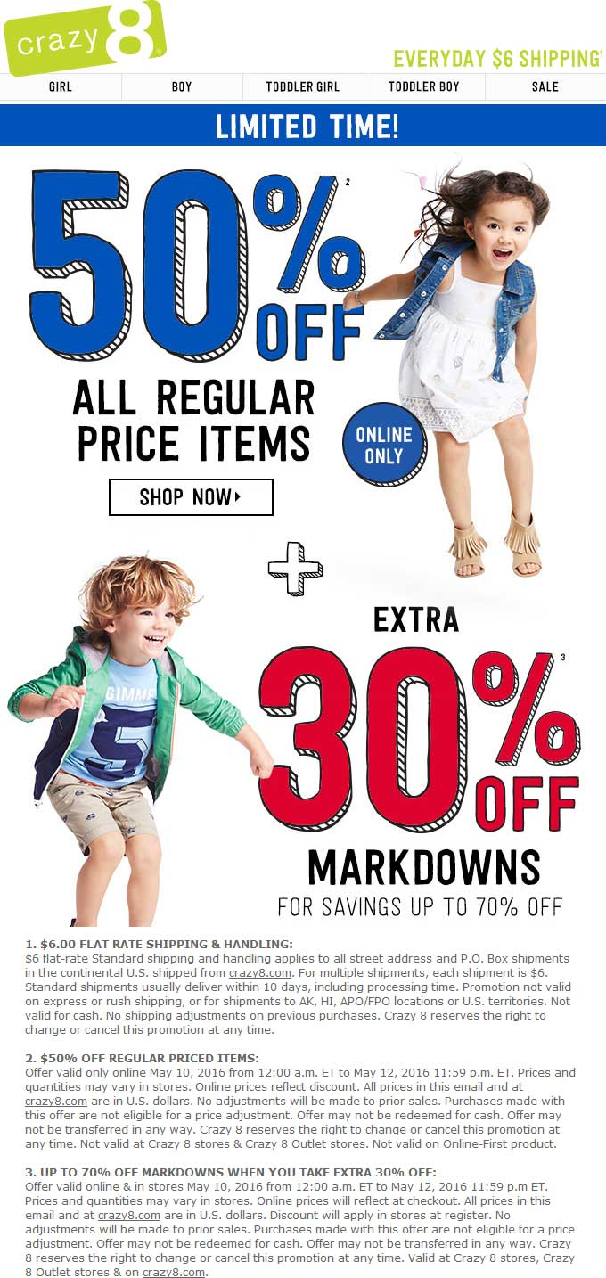 Crazy 8 Coupon June 2017 Extra 30% off clearance at Crazy 8 kidswear, ditto online + 50% off everything else