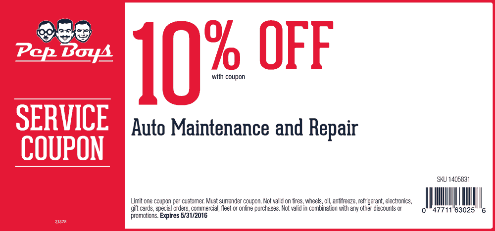 Pep Boys Coupon March 2018 10% off auto maintenance & repair at Pep Boys