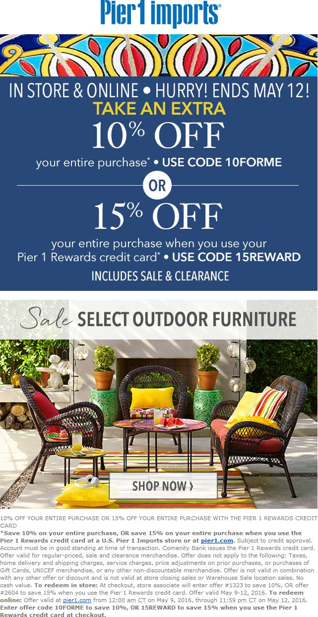Pier 1 Coupon September 2017 Quick 10% off everything at Pier 1 Imports, or online via promo code 10FORME