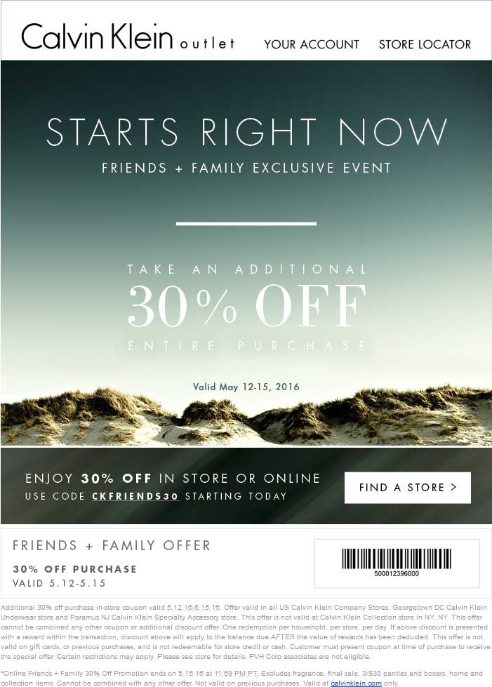 Calvin Klein Outlet Coupon January 2017 Extra 30% off at Calvin Klein Outlet, or online via promo code CKFRIENDS30