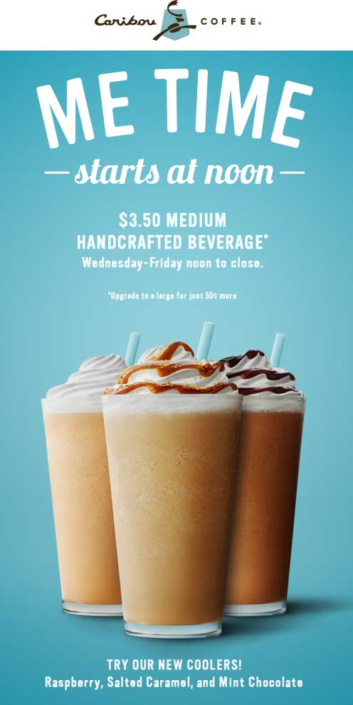 Caribou Coffee Coupon September 2017 $3.50 medium after 12p at Caribou Coffee
