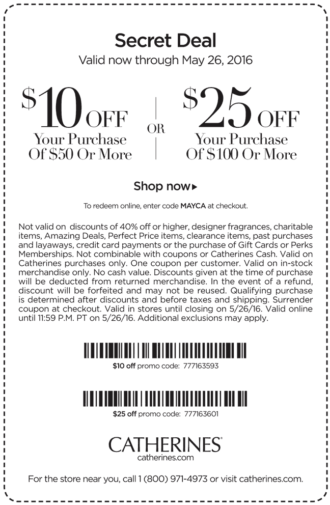 Catherines Coupon October 2017 $10 off $50 & more at Catherines, or online via promo code MAYCA