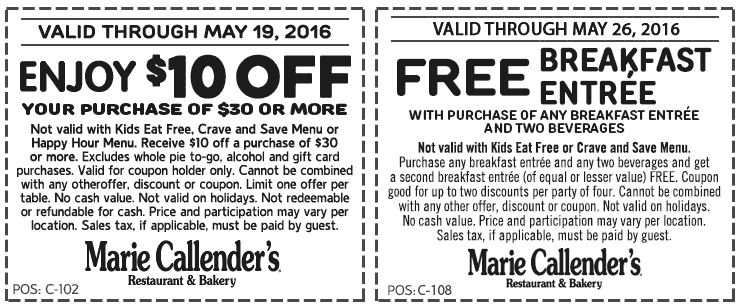 Marie Callenders Coupon May 2017 Second breakfast free & $10 off $30 at Marie Callenders