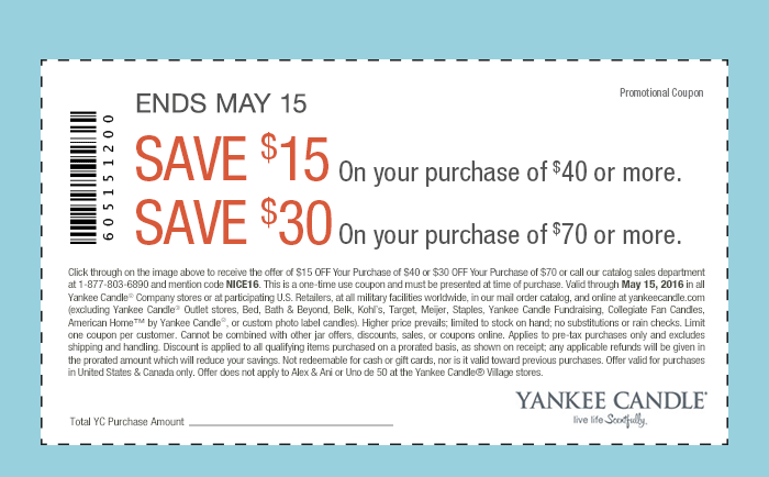 Yankee Candle Coupon May 2018 $15 off $40 & more at Yankee Candle, or onine via promo code NICE16