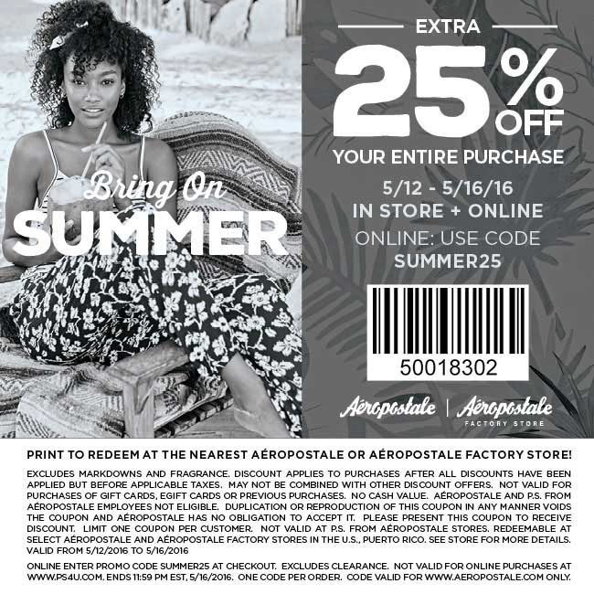 Aeropostale Coupon April 2017 25% off everything at Aeropostale, or online via promo code SUMMER25
