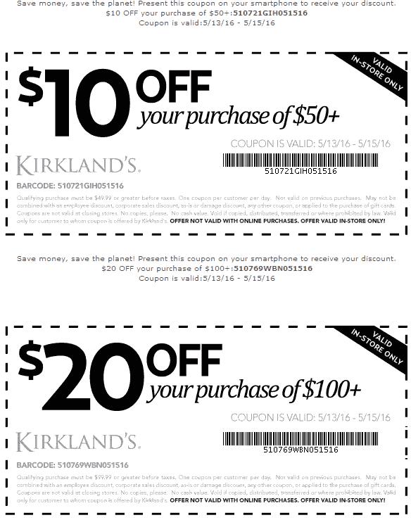 Kirklands Coupon July 2017 $10 off $50 & more at Kirklands