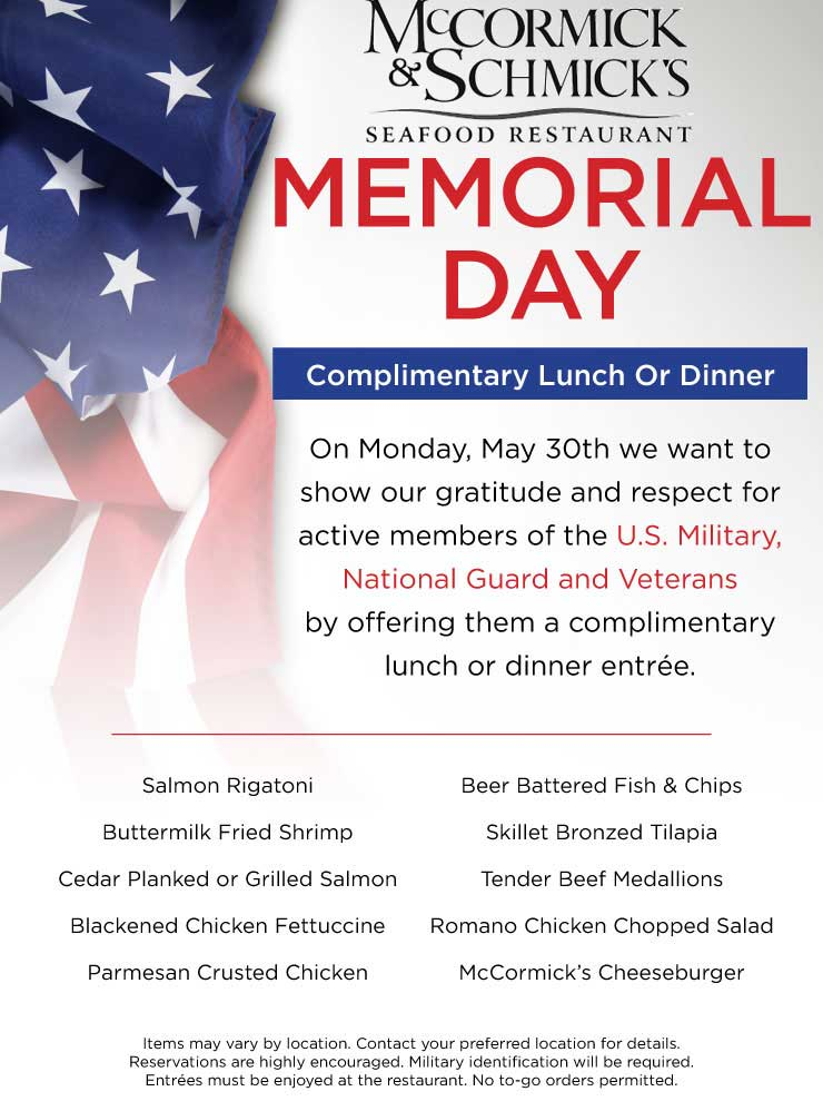 McCormick & Schmicks Coupon June 2017 Active military enjoy a free entree the 30th at McCormick & Schmicks seafood