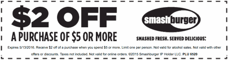 Smashburger Coupon February 2017 $2 off $5 today at Smashburger restaurants (05/