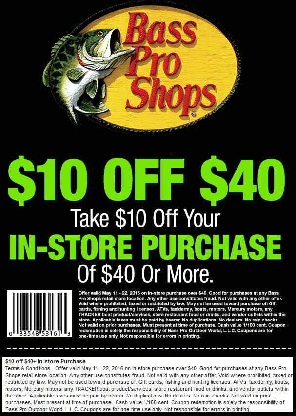 Bass Pro Shops Coupon June 2018 $10 off $40 at Bass Pro Shops