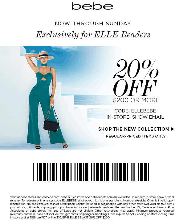 Bebe Coupon February 2018 20% off $200 at bebe, or online via promo code ELLEBEBE