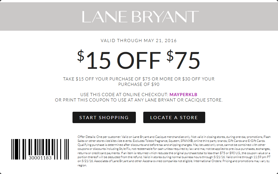 Lane Bryant Coupon October 2018 $15 off $75 & more at Lane Bryant, or online via promo code MAYPERKLB