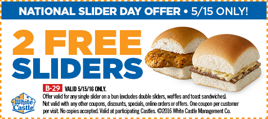 White Castle Coupon March 2018 Two free sliders Sunday at White Castle