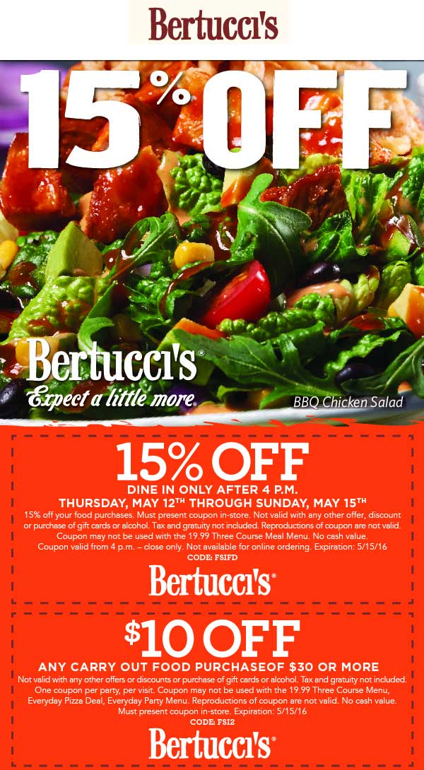 Bertuccis Coupon August 2017 15% off after 4pm today at Bertuccis restaurants