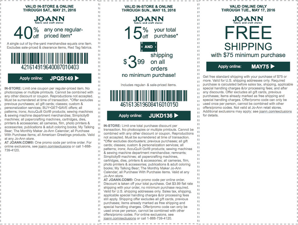 Jo-Ann Fabric Coupon March 2017 40% off a single item at Jo-Ann Fabric, or online via promo code JPQS149