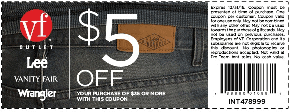 VF Outlet Coupon March 2019 $5 off $35 at VF Outlet