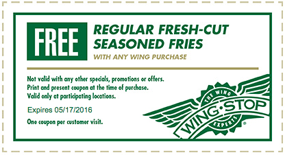 Wing Stop Coupon May 2018 Free seasoned fries with your wings at Wing Stop