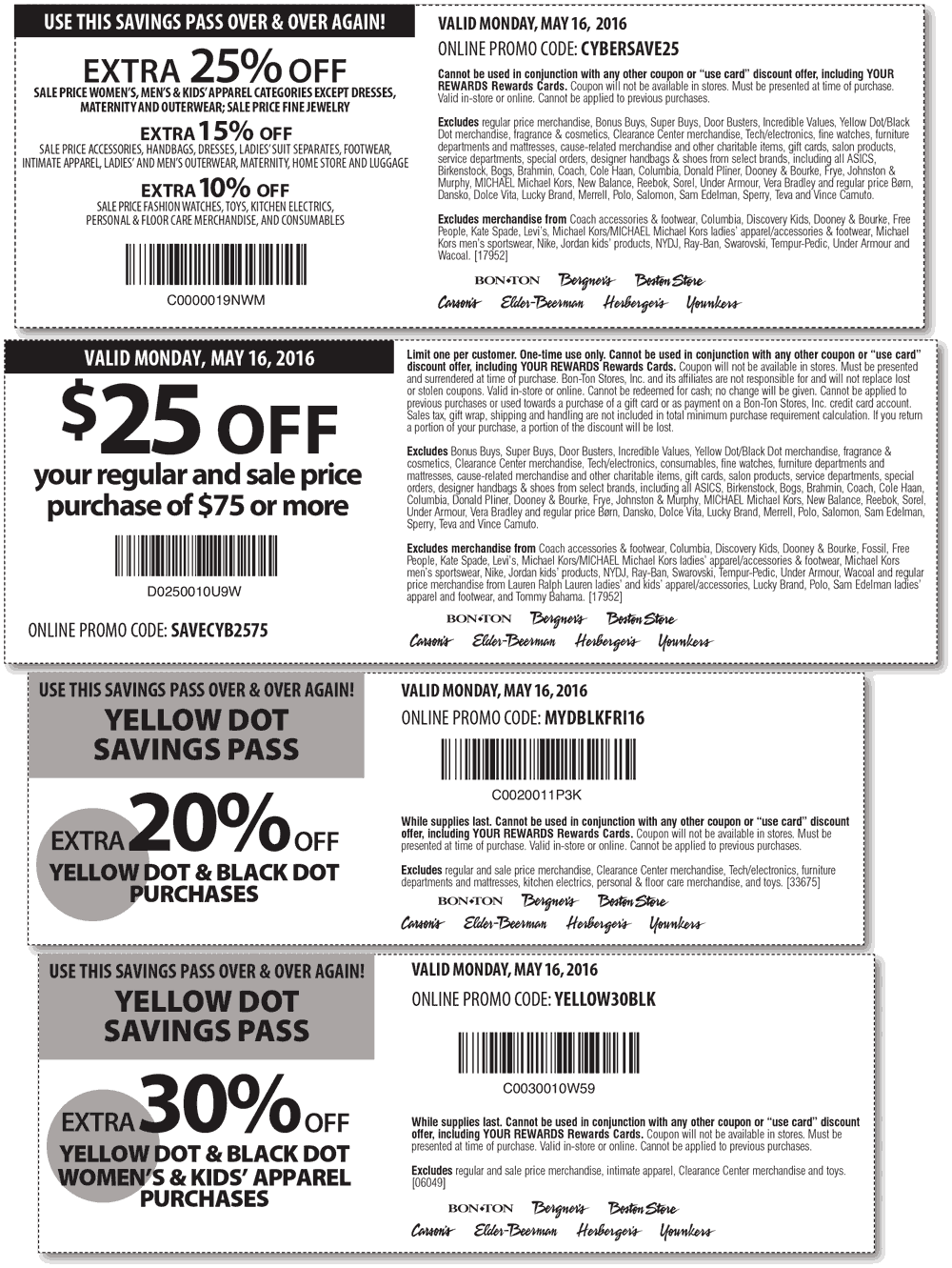 Bon Ton Coupon July 2017 $25 off $75 & more today at Carsons, Bon Ton & sister stores, or online via promo code SAVECYB2575