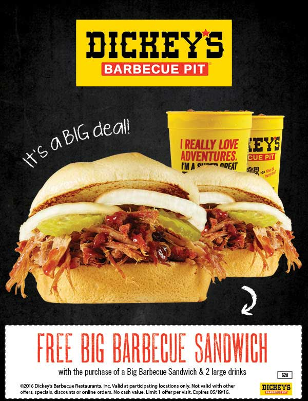 Dickeys Barbecue Pit Coupon May 2018 Second big bbq sandwich free at Dickeys Barbecue Pit
