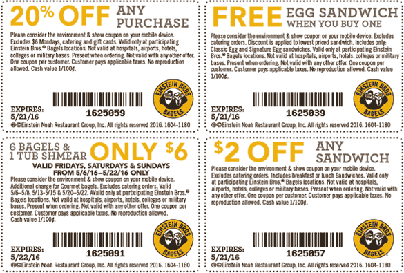 Einstein Bros Bagels Coupon October 2016 20% off, second egg sandwich free & more at Einstein Bros Bagels