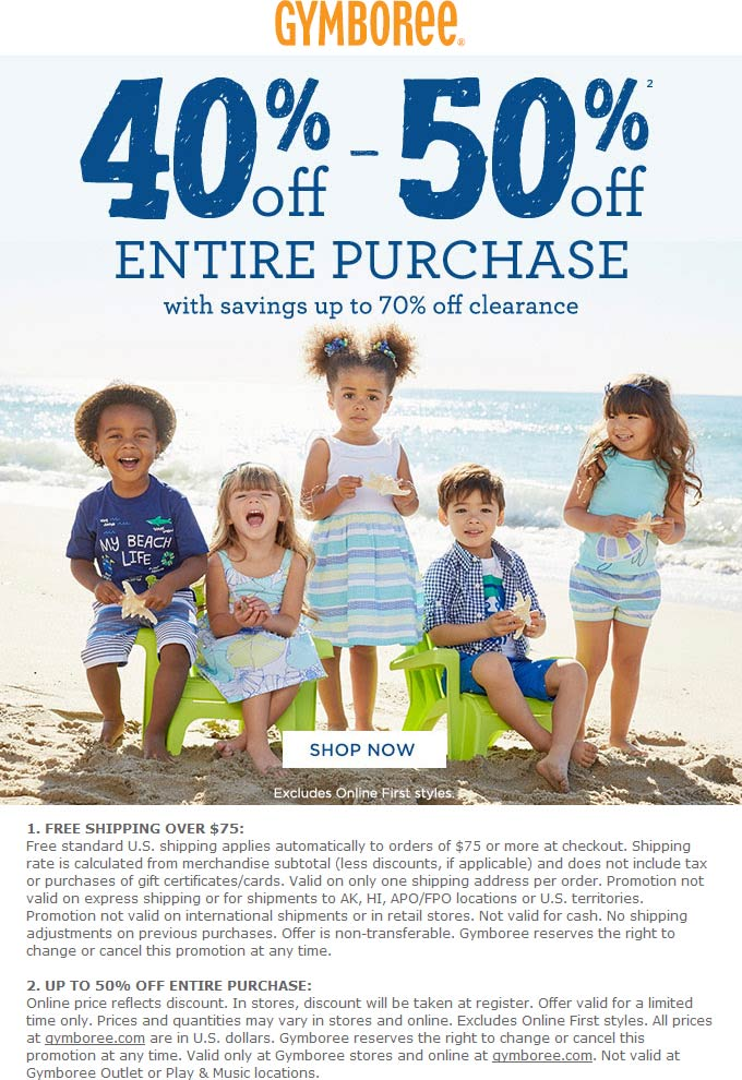 Gymboree Coupon August 2017 40-50% off everything at Gymboree, ditto online