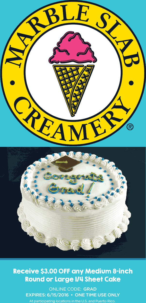 Marble Slab Creamery Coupon February 2017 $3 off a cake at Marble Slab Creamery