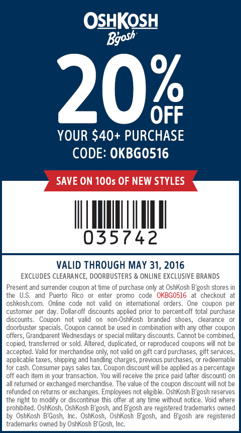 OshKosh Bgosh Coupon May 2018 20% off $40 at OshKosh Bgosh, or online via promo code OKBG0516