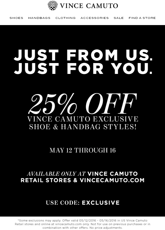 Vince Camuto Coupon March 2017 25% off today at Vince Camuto, or online via promo code EXCLUSIVE