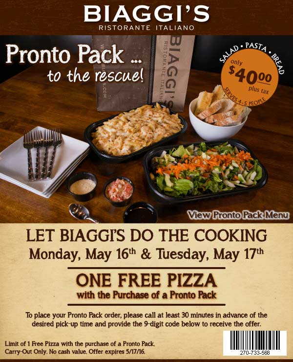 Biaggis Coupon May 2017 Free pizza with your pronto pack today at Biaggis Italian restaurants
