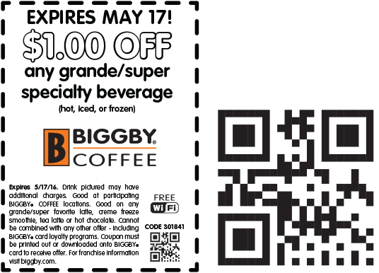 Biggby Coffee Coupon December 2017 Shave a buck off your coffee today at Biggby Coffee