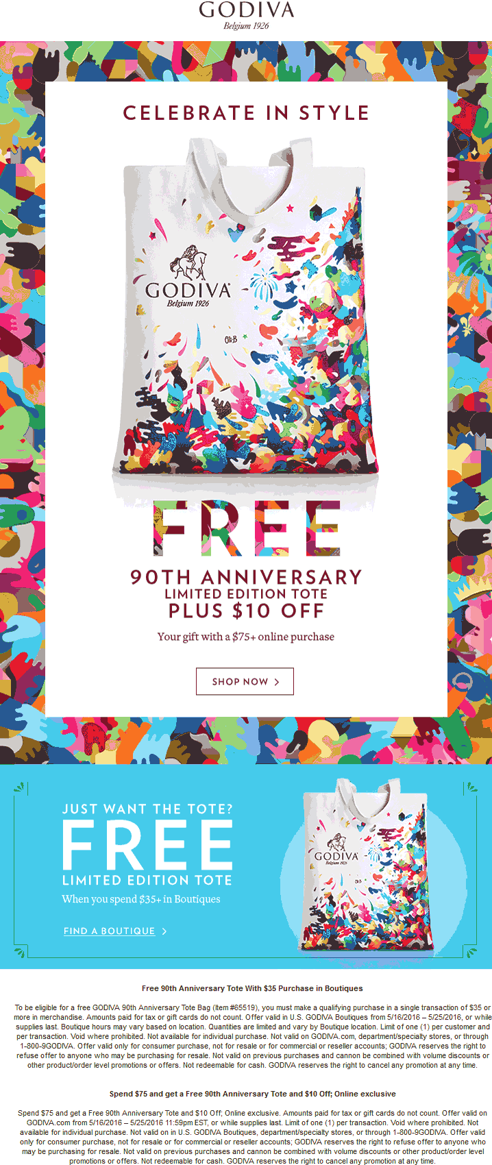 Godiva Coupon March 2018 $10 off $75 + free tote & shipping online at Godiva chocolates
